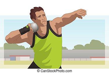 athlète, mettre, coup, mâle, fond