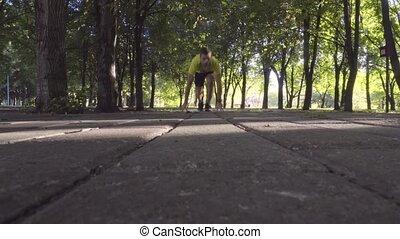 athlète, park., mâle, courant