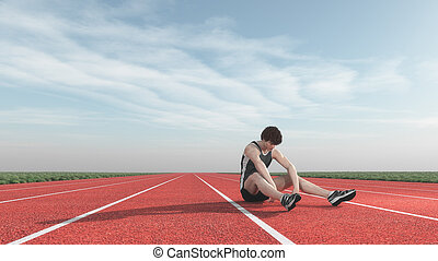 athlète, runway., battu