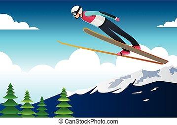 athlète, sauter, ski, concurrence, illustration