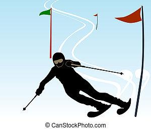 athlète, silhouette, skieur