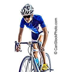athlète, triathlon, cyclisme, femme, cycliste, ironman