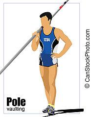athlète, vaulting., f, poteau, piste