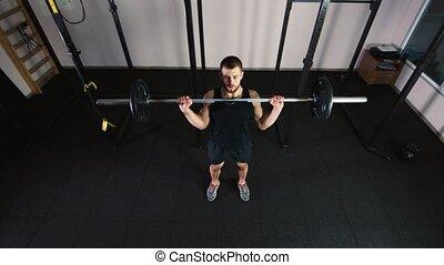 athlète, vue dessus, augmentations, barre