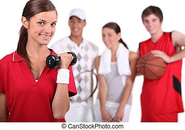 athlètes, groupe