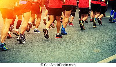 athlètes, jambes, non identifié, marathon
