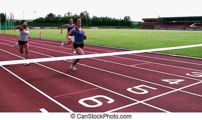 athlètes, ligne, croisement, finition