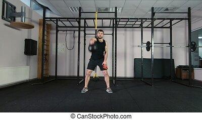 athlètes, train, à, poids