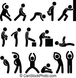 athlétique, étendue, exercice, gens