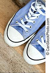 athlétique, adolescent, chaussures