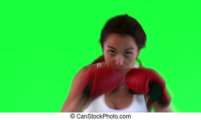 athlétique, boxe, femme, pratiquer