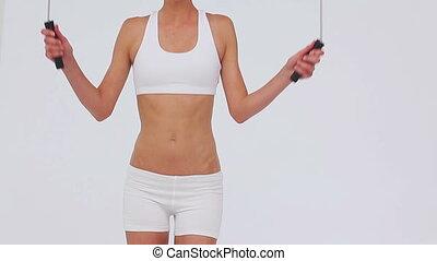 athlétique, corde, jouer, sauter, femme