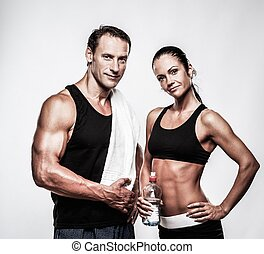 athlétique, couple, après, exercice, fitness