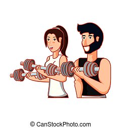 athlétique, couple, dumbbells, sport, jeune