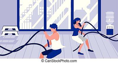 athlétique, couple, jeune, corde, sport, gymnase