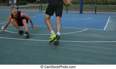 athlétique, court., lent, jeu, extérieur, pratiquer, mâles, ...