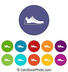 athlétique, ensemble, chaussure, icônes