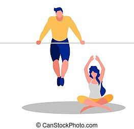 athlétique, exercices, couple, pratiquer