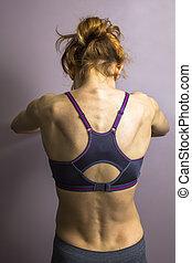 athlétique, femme allonger, jeune, dos, elle