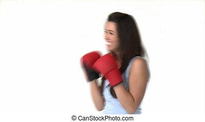 athlétique, femme, asiatique, boxe