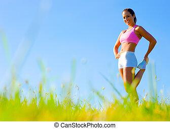 athlétique, femme, exercisme