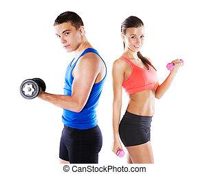 athlétique, femme, homme