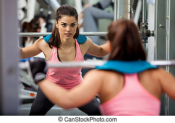 athlétique, femme, levage, barre disques