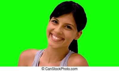athlétique, femme souriant, appareil photo