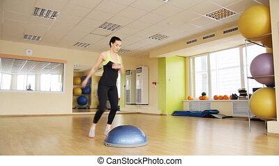 athlétique, gymnase, femme, trains