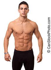 athlétique, homme, sans chemise