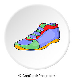 athlétique, icône, style, chaussure, dessin animé