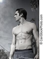 athlétique, mâle, modèle, jeune, fitness
