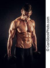 athlétique, mâle, sans chemise, fitness, dumbbells, modèle, ...