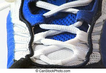 athlétique, macro, chaussure