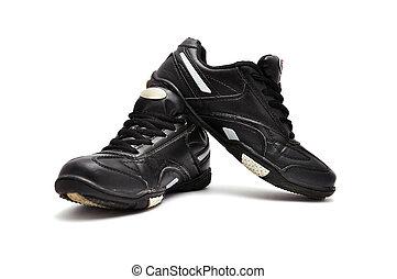athlétique, noir, chaussures