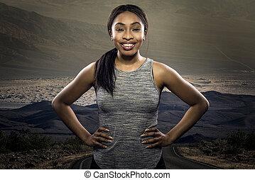 athlétique, noir, joggeur, fond, reposer, femme, route