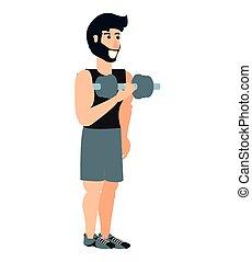 athlétique, sport, jeune homme, haltère