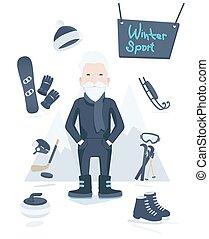 athlétique, sport, vieux, hiver, homme