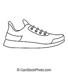athlétique, style, icône, contour, chaussure