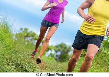 athlétique, -, traîner courir, fitness, jambes, athlètes