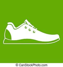athlétique, vert, chaussure, icône