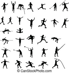 athlétisme, silhouettes