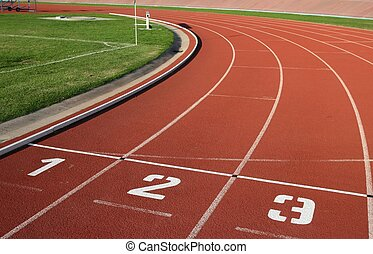Athlectics Track Lane Numbers - Lane numbers on a athlectics...