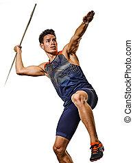 athlet, athletik, hintergrund, junger, freigestellt, mann, speerwerfen, weißes