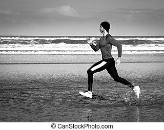athlet, auf, sandstrand