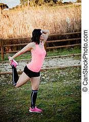 athlet, dehnen, nature., übung