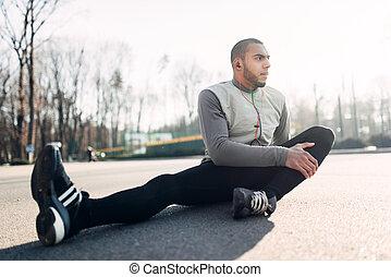 athlet, dehnen, rennender , übung, vorher