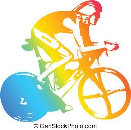 athlet, fahrrad