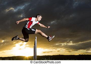 athlet, hürdenlauf, in, sonnenaufgang
