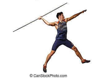 athlet, mann, weißes, speerwerfen, athletik, hintergrund, freigestellt, junger